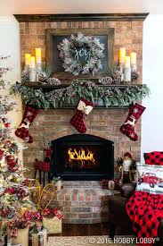 home lighted tree presents fireplace stockings stock photo