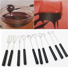 chocolate dipped spoons wholesale diy stainless steel chocolate dipping fork set plastic handle