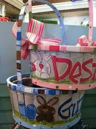 painted easter baskets easter basket personalized easter basket painted easter