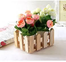 natural rectangle wood flower holder box wooden organizer for