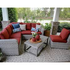 Home Depot Patio Furniture Cushions by Forsyth 5 Piece Wicker Outdoor Sectional Set With Red Cushions