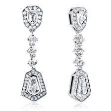 diamond dangle earrings bullet cut diamond dangle earrings 1 1 2 carat ctw in 14k white gold