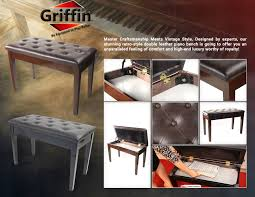 black piano bench with storage by griffin leather wood keyboard