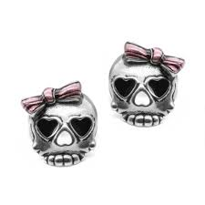 badass earrings bejeweled badass in pink skull earrings controse