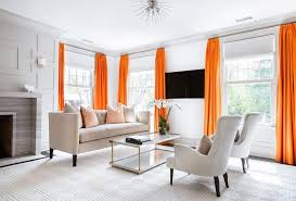 Contemporary Orange Curtains Designs And Orange Living Room With Neon Orange Curtains