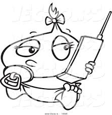 vector of a cartoon baby using a cell phone outlined