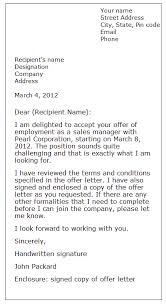 acceptance letter sample formal letter samples