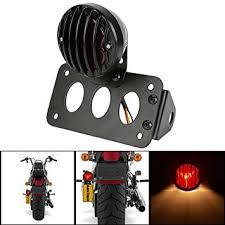 motorcycle license plate frame with led brake light katur black motorcycle side mount tail light brake license plate