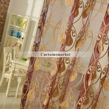 embroidery yarn patterned red window sheer curtains
