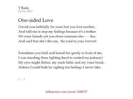 one sided one sided love by y rada hello poetry