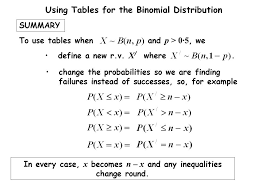 Binomial Tables The Binomial Distribution Using Tables Christine Crisp U201cteach A
