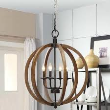 Sphere Ceiling Light Rustic Orb Chandelier L Wood Pendant Lighting Candle Large