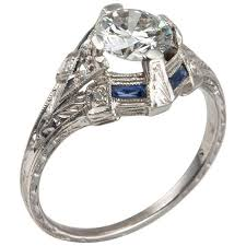 art deco 0 93 carat diamond engagement ring with sapphire accents