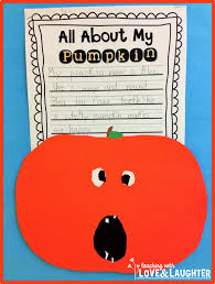 pumpkin writing paper template teaching with love and laughter october 2014 the third sentence was all about the number of teeth the pumpkin has the fourth sentence described the pumpkin using one word only