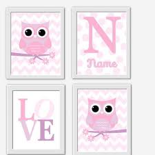 Purple Nursery Wall Decor Owl Baby Nursery Wall Pink From Dezignerheartdesigns On
