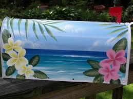 Custom Dune Flags Handpainted Flag Mailbox Tropical Art Frangipani Plumeria Beach