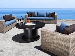 Patio Furniture Set With Fire Pit Table - patio 9 louvre patio furniture drift teak wicker conversation