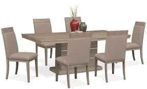 gavin pedestal table and 6 side chairs graystone value city gavin pedestal table and 6 side chairs graystone dining room