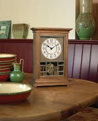 bulova country style chiming mantel clock frosted corner