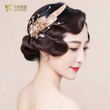 hair ornaments women baroque hair handmade pearl jewelry gold color leaf