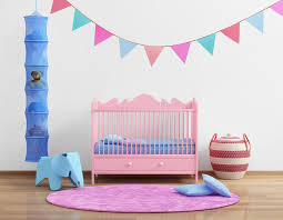 baby u0027s pink nursery room with flags and rug stock photo image
