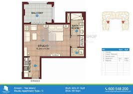 Floor Plan Studio Type Ansam Yas Island