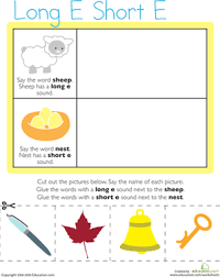 vowel sounds long e short e worksheet education com