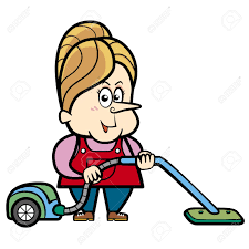 cartoon housewife with a vacuum cleaner royalty free cliparts