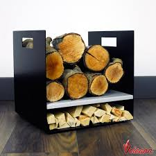 modern firewood log basket carrier for woodstove fireplace wood