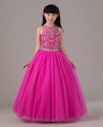 pink beaded pageant dress for little girls full skirt long