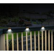 solar led deck step lights ideaworks set of 3 solar deck lights brown walmart com