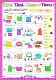 esl kids worksheets demonstrative determiners this these that