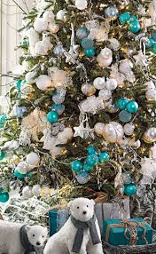 christmas tree grandin road with turquoise and white ornaments