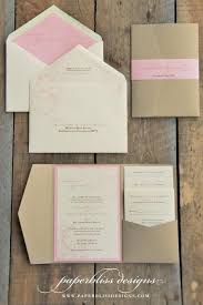 wedding invitation pockets blush pink peony wedding invitation suite pink and gold wedding