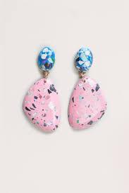 what is surgical steel earrings resin terrazzo look earrings earrings measure 6cm
