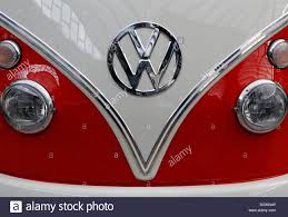 volkswagen bus front vw bus or van bulli model t1 from the u002760s front and logo stock