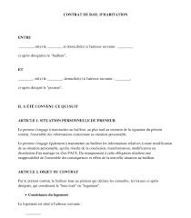 contrat location chambre chez l habitant contrat de location gratuit bail d habitation modèle exemple
