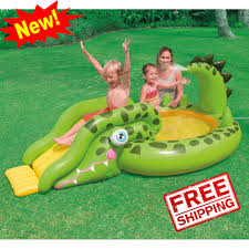 inflatable pool water slide sprayer park kids toys fun outdoor