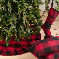 plaid tree skirt saro 9025r buffalo plaid ruffled tree skirt