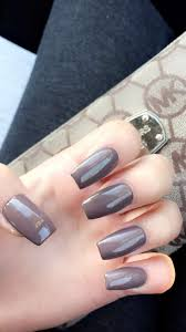 medium length coffin shaped nails color set in stone nails