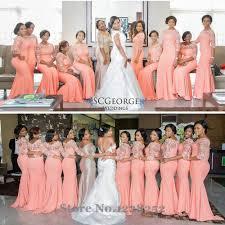 aliexpress com buy elegant coral long bridesmaid dress with