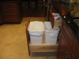 kitchen cabinet trash pull out width of trash cabinet
