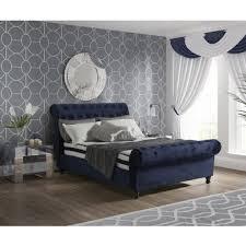 Velvet Sleigh Bed Blue Velvet Sleigh Bed