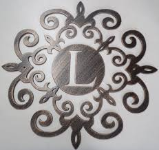 iron scroll wall art family initial 30 inches monogram inside a metal scroll with