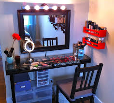 diy makeup vanity table with storage and black armless chair in