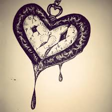 heart shaped broken pocket watch pen drawing tattoo design draw