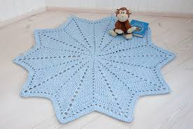 light blue star shaped crochet doily rug made of cotton t shirt