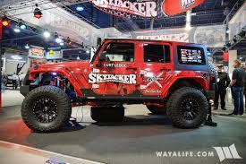 jeep unlimited red 2016 sema skyjacker red jeep jk wrangler unlimited