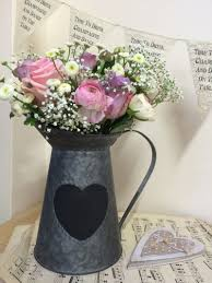 Metal Jug Vase Grey Metal Jug U0026 Black Heart Chalkboard Blackboard Wedding Table