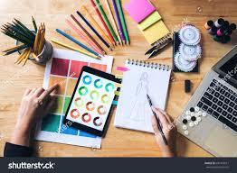 choose color young woman dressmaker designer working choose stock photo